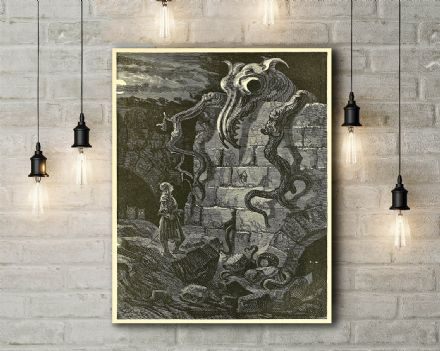 Gustave Dore: The Gnarled Monster. Fine Art Canvas.